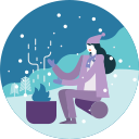activity, camping, cold, fire, forest, warm, winter icon