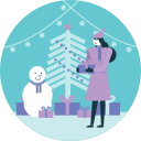 activity, gift, merry christmas, snowman, tree, winter, xmas