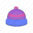 blue, cap, cartoon, hat, knit, warm, winter icon