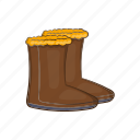 boot, cartoon, clothing, cold, shoes, snow, winter icon