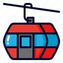 cable, car, funicular, ski, transport, winter icon