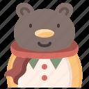 animal, avatar, bear, cartoon, cold, sweater, winter