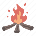 camping, cold, fire, flame, hot, light, warm icon