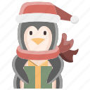 animal, christmas, gift, penguin, present, winter, xmas
