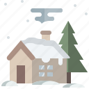 architecture, building, home, house, real estate, snow, winter icon