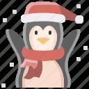 cartoon, christmas, fun, happy, penguin, snow, winter