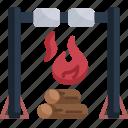 campfire, marshmallows, hot, burn, flame, bonfire, camping
