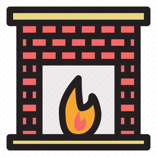 cold, fireplace, holiday, winter icon