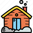accommodation, cabin, cottage, house, lodge, winter, wooden icon