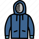 apparel, clothing, hoodie, season, sweater, winter icon