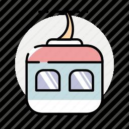 funicular, mountains, winter icon