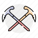 alpinism, axe, ice axe, winter icon