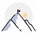 mountains, nature, sun, winter icon