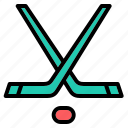 hockey, sticks, equipment, ice hockey, team sports, sports and competition, puck icon