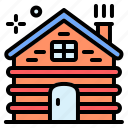 real estate, hut, wooden, house, wood cabin, shelter, wood house icon