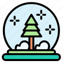 snow globe, crystal, christmas, ball, ornament, decoration, snows icon