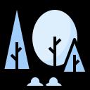 forest, landscape, nature, scenery, winter icon