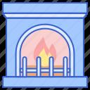 fire, fireplace, flame, heat