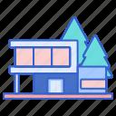 accommodation, building, real estate, villa icon
