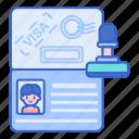 document, identification, passport, visa icon