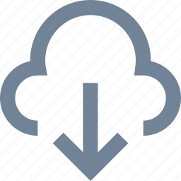 arrow, cloud, download, line, network, wireless icon