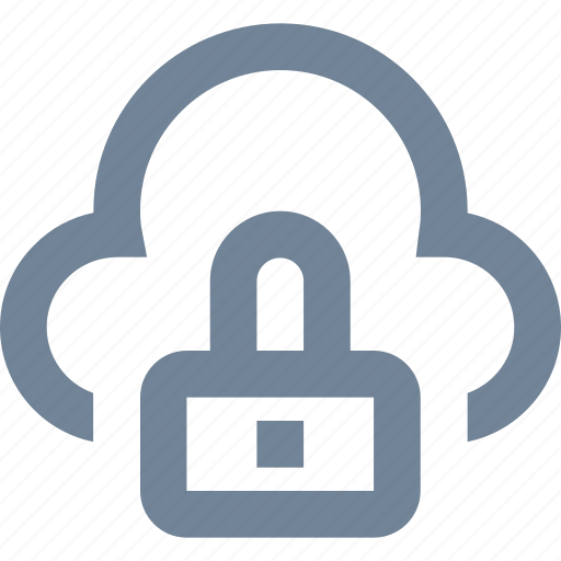 cloud, denied, line, lock, network, padlock, password, wireless icon