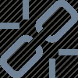 broken, line, link, share icon