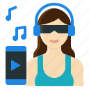 activity, headphone, lifestyle, music, relaxing, song, woman