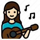 activity, guitar, instrument, lifestyle, music, sound, woman