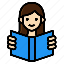 activity, book, leisure, lifestyle, read, reading, woman icon