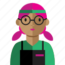 avatar, grocery, nerd, sell, woman icon