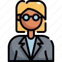 avatar, bussiness, girl, glasses, profile, user, woman icon