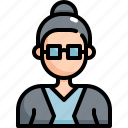 adult, avatar, girl, glasses, profile, user, woman icon