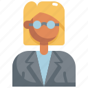 avatar, business, girl, glasses, profile, user, woman icon
