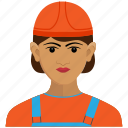 employee, gilr, road, woman, worker icon