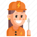 avatar, electrician, job, profession, user, woman, work icon