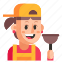avatar, job, plumber, profession, user, woman, work icon