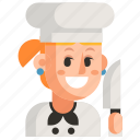 avatar, chef, job, profession, user, woman, work