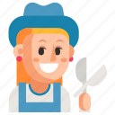 avatar, gardener, job, profession, user, woman, work icon