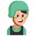 avatar, job, profession, soldier, user, woman, work icon