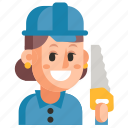 avatar, carpenter, job, profession, user, woman, work icon