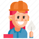 avatar, builder, job, profession, user, woman, work icon