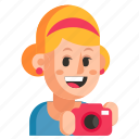 avatar, job, photographer, profession, user, woman, work icon