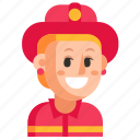 avatar, firefighter, job, profession, user, woman, work icon