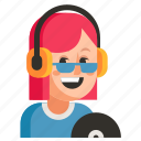 avatar, dj, job, profession, user, woman, work icon