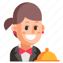 avatar, job, profession, user, waiter, woman, work icon