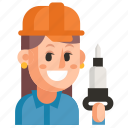 avatar, job, miner, profession, user, woman, work icon