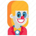 avatar, clown, job, profession, user, woman, work icon