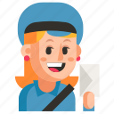 avatar, job, postman, profession, user, woman, work icon
