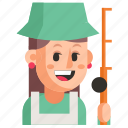 avatar, fisherman, job, profession, user, woman, work icon